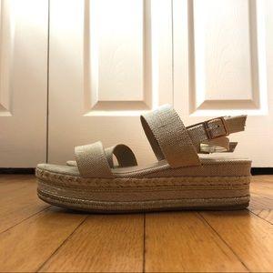 Tan and gold platform espadrille sandals!!